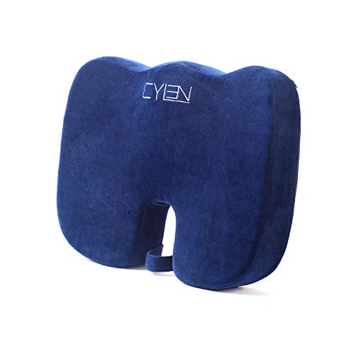 CYLEN -Memory Foam Bamboo Charcoal Infused Ventilated Orthopedic Seat Cushion for Car and Office Chair - Washable & Breathable Cover (Navy Blue) by CYLEN (Image #1)