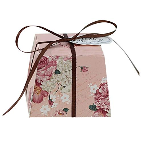 (Storage Boxes & Bins - 40 Pcs Wedding Favors Trapezoid Floral Candy Boxes Gift Box Flesh Pink Contains Ribbons Cards 7 5. - Storage Organizers Boxes Bins)