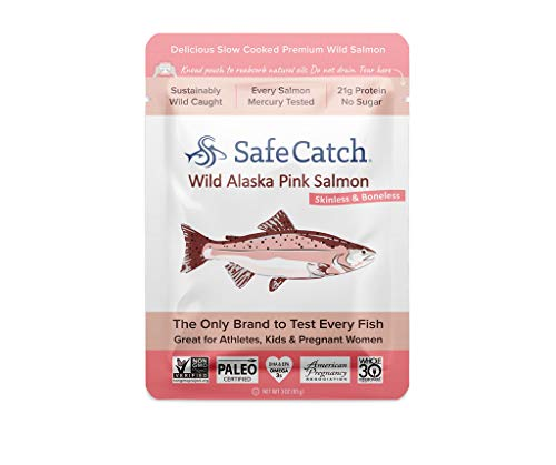 Safe Catch Wild Alaska Pink Salmon, Mercury Tested, 3 oz pouch (Pack of 12)