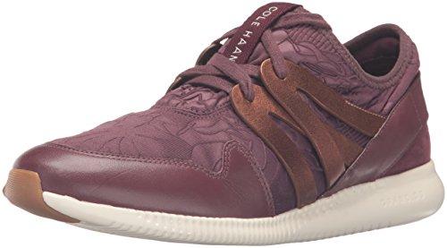 Cole Haan Donna 2.0 Studiogrand Trainer Moda Sneaker Deep Berry Floreale In Rilievo In Neoprene / Pelle / Deep Copper Metallic Leather / Ivory