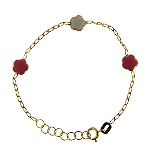 18K Yellow Gold Pink and White enamel bracelet 5.6 inch with extra rings staring at 5 inch by Amalia