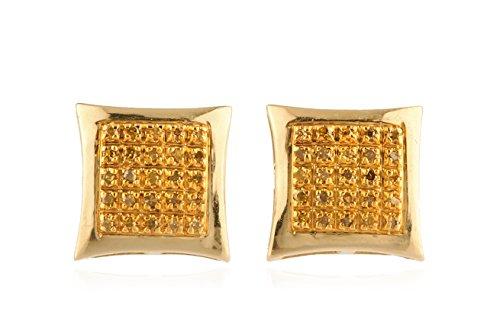 10k Yellow Gold .15 Cttw Yellow Diamond Square Kite Dome Screw Back Stud Earrings (V-63) ()
