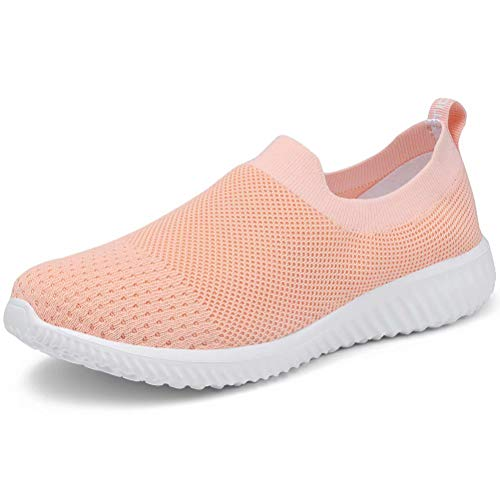 LANCROP Women's Comfortable Walking Shoes - Lightweight Mesh Slip On Athletic Sneakers 6.5 US, Label 37 Shell Pink