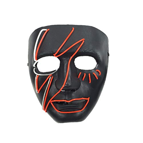 LED Mask Halloween Costume Light up Mask Cosplay EL Wire Mask Glowing mask (red+blue-18189cm/Voice Switch)
