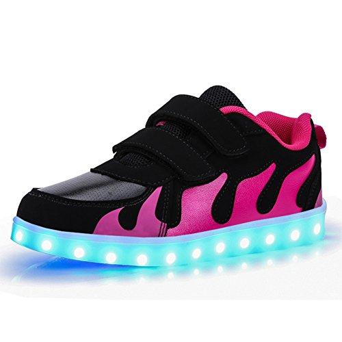 KE- Zapatillas de deporte con luces de LED Black and Rose