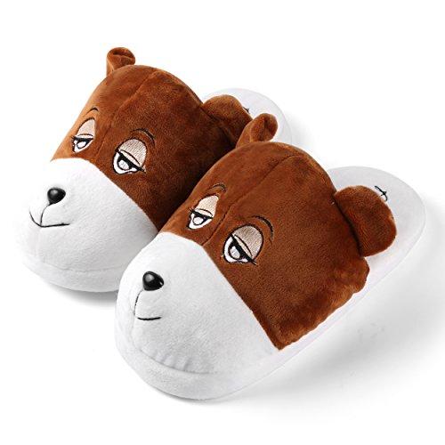 Aerusi Child Animal Plush Slipper Cute Fun Comfy Slip-On Soft Warm Family House Indoor Bedroom Slippers Bear zlB01sun