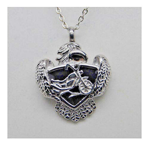 Cremation Urn Necklace, Harley Inspired Motorcycle Detail in 316L Stainless