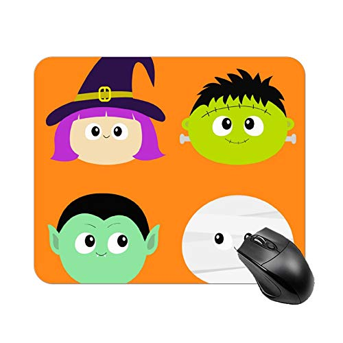 Uclipers Mouse Pad with Stitched Edges Mousepad with Vampire Count Dracula Mummy Whitch Hat Zombie, Non-Slip Waterproof Mouse Pads for Computer, Laptop, PC, Office & Home, 10