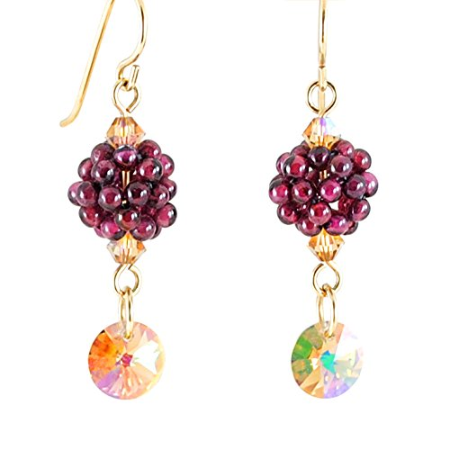 Rhodolite Garnet Earrings with Swarovski Rivoli Drops, Artisan Crafted in 14K Gold Filled