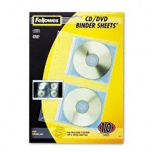 Fellowes Vinyl CD/DVD Refill Sheets for Three-Ring Binders, Clear, 10 per Pack -- Sold as 2 Packs of - 10 - / - Total of 20 Each by (3 Ring Binder Vinyl Cd)