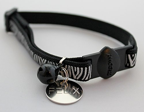Black Ancol Reflective Gloss Safety Cat Collar With bell /& Optional Engraved 20mm Tag