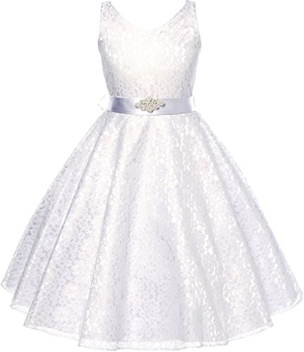 Little Girls Lace Floral Pattern Satin Sash Flower Girl Dress White 4 (G35G11)]()