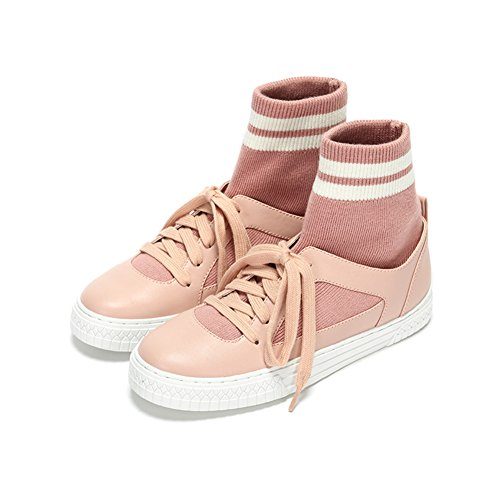 LIANGJUN Women's Shoes Sneakers Flat Ankle Boots Low Heels Spring, 7 Sizes, 2 Colors Available ( Color : Black-EU35=UK4=L:225mm ) Pink-EU34=UK3.5=L:220mm
