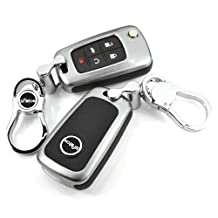 Saibon Protective Hard Aluminum Shell Key Fob Remote Entry Case Cover for GMC Buick Chevrolet Chevy (Gray)