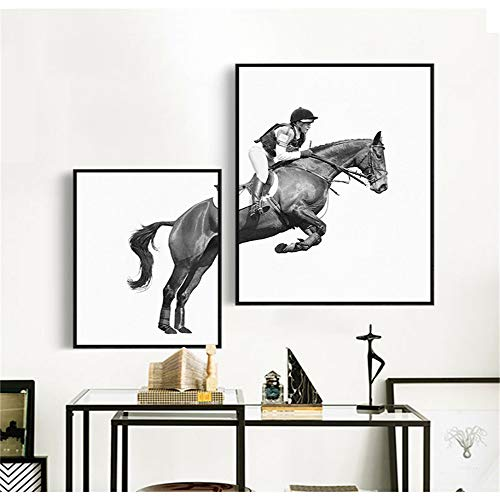 WSNDG Modern Decorative Painting Equestrian Riding Living Room Sofa Office Creative Fashion Art Black and White Wall Painting Painting Without Picture Frame A3 6080+4560cm (No Frame)
