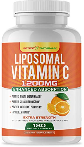 Liposomal Vitamin C 1200mg 180 Capsules by POTENT NATURALS - High Absorption, Fat Soluble Vitamin C, Collagen Booster, Antioxidant & Immune Support, Anti Aging Skin Supplement, Non GMO, Gluten-Free
