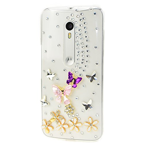Moto G4 Play Case, Moto G Play Case, STENES 3D Handmade Luxury Sparkly Crystal Design Bling Hybrid Cover Drop Bumper Protection Case with Retro Bows Anti Dust Plug -Dance Butterfly - And D G Company