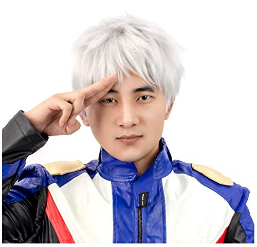 White Wig Men (DAZCOS for Soldier 76 Halloween Comic Cosplay Short Wig)