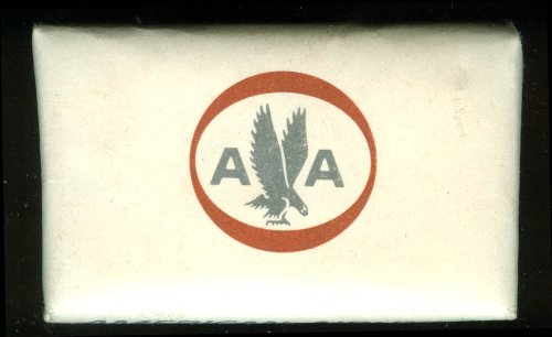 American Airlines on-board airline cake of soap 1962-7 plain back dull paper ()