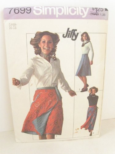 VINTAGE OOP SIMPLICITY 7699 MISSES' REVERSIBLE WRAP AROUND SKIRTS SEWING PATTERN SIZE small misses' 8-10