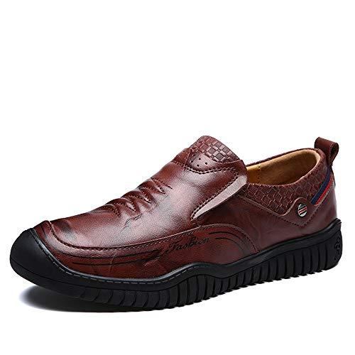 Marrón Cuero para Redonda 43 Ocasionales Punta Qiusa Mocasines Punta Genuino Hombre de Suave EU Suela tamaño U Zapatos Cómodo Color 4qw0wExa