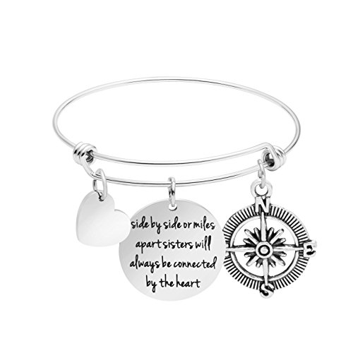 Awegift Women Jewelry for Sister Friendship Bangle Bracelet Side by Side or Miles Apart Sisters Will Always be Connected by The Heart
