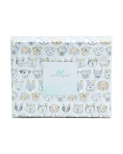 Lil Envogue Multi Puppy Dog Floral Crowns Sheet Set 100% Cotton - Schnauzer, Boston Terrier, Dachshund, Bichon, Pug, Husky, Dalmatian, Mutt (Full) (Set Sheet Dog)