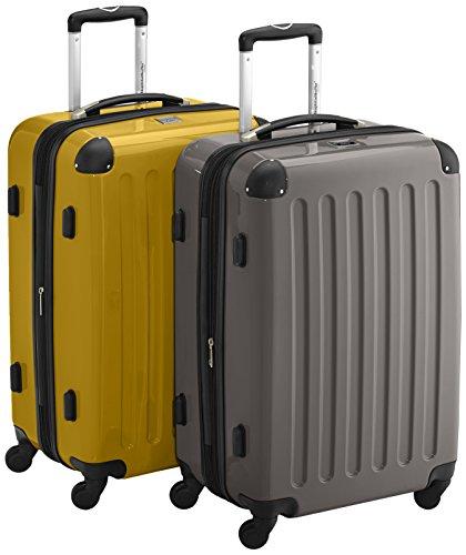 HAUPTSTADTKOFFER - Alex - 2er Koffer-Set Hartschale glänzend, TSA, 65 cm, 74 Liter, Graphit-Orange Graphit-gelb