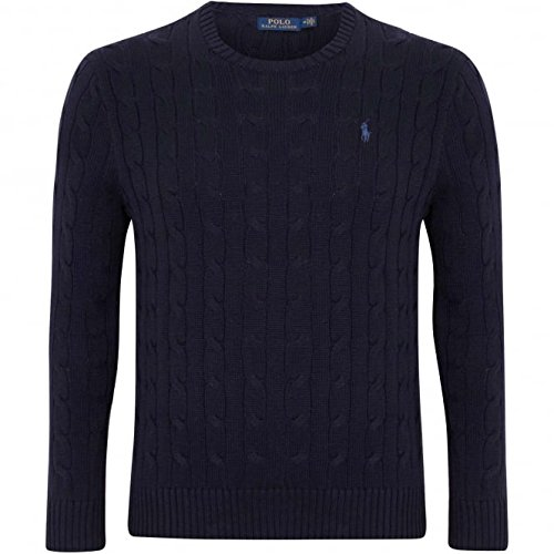 (POLO RALPH LAUREN MENS CABLE-KNIT COTTON SWEATER, NAVY BLUE, LARGE)