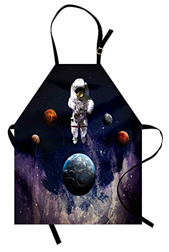 Outer Space Costume Ideas (Ambesonne Outer Space Apron, Astronaut in The Outer Space The Planets Globe Satellite Energy Eternity Theme, Unisex Kitchen Bib with Adjustable Neck for Cooking Gardening, Adult Size, Dark)