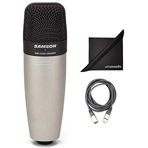 Samson C01 Large Diaphragm Vocal Condenser Microphone Bundle with 10-Foot XLR Cable and Polishing Cloth - Samson C01 Condenser Microphone