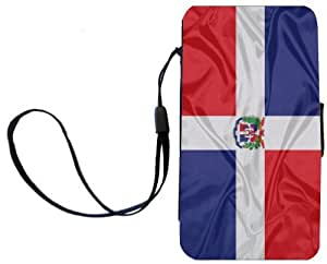 Rikki KnightTM Dominican Flag Design Galaxy S4 PU Leather Wallet Type Flip Case with Magnetic Flap and Wristlet for Samsung Galaxy S4 i9500