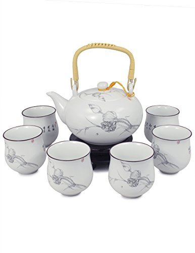 - Dahlia Handpainted Porcelain Tea Gift Set: Teapot+ 6 Teacups in Gift Box, Purity Lotus