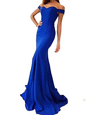 Yinyyinhs Women's Off the Shoulder Mermaid Evening Gowns Sweetheart Long Formal Dresses