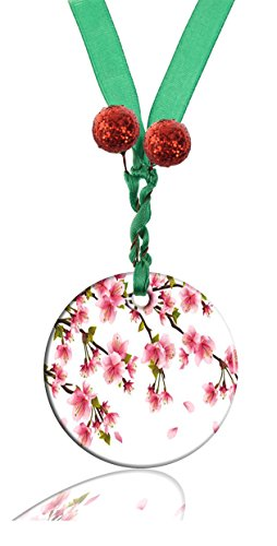 erry Blossom Personalized Round Porcelain Ornaments Christmas Ornaments Home Decoration ()