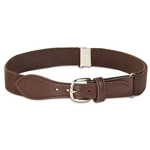 Kids Elastic Adjustable Belt with Leather Closure - Brown