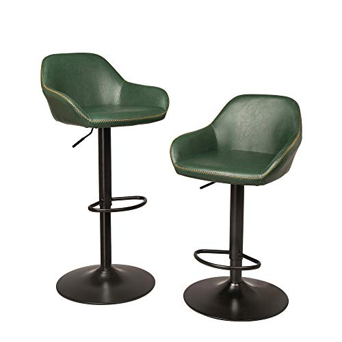 Glitzhome Mid Century Bar Stools Adjustable Swivel Leatherette Seat Bar Chair with Arm Back Support Kitchen Furniture Set of 2, Hunter Green ()
