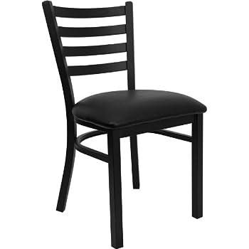 Attractive Flash Furniture 4 Pk. HERCULES Series Black Ladder Back Metal Restaurant  Chair   Black Vinyl