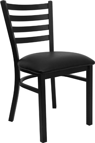 4 Pk. Hercules Series Black Ladder Back Metal Restaurant Chair with Black Vinyl Seat