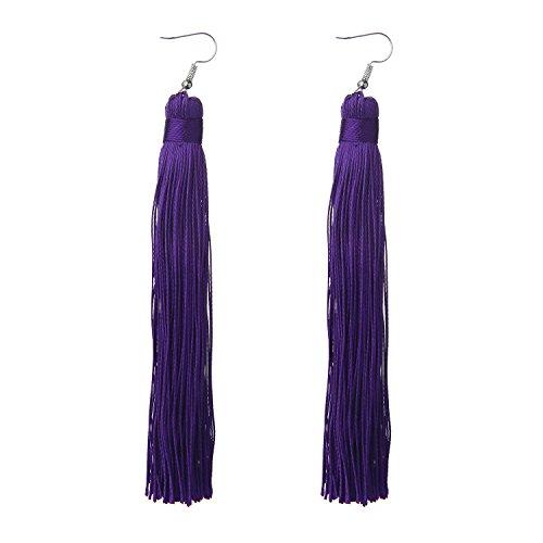 MELUOGE Women's Knotted Tassel Long Earrings 4.7