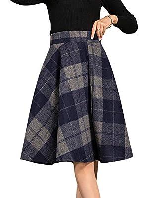 IDEALSANXUN Women's A-line Elastic Waist Short Plaid Wool Skirt