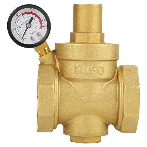 Pressure Reducing Valve, BSP DN50 2inch Brass Water Pressure Reducing Valve 2'' Adjustable Water Control Pressure Regulator Valve Thread with Gauge Meter 1.6MPa