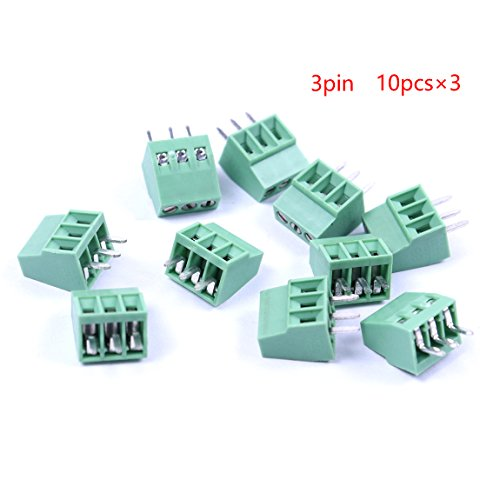 Atoplee 	 30pcs 3 Pole 2.54mm Pitch PCB Mount Screw Terminal Block Connector (3 Pin Terminal Block)