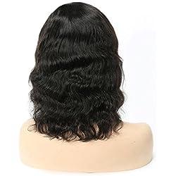 Side Part Bob Lace Front Wigs Human Hair, Brazilian Natural Hair Wig Bob 150% Density Human Hair Lace Front Wigs With Baby Hair Wavy Natural Black 8Inch