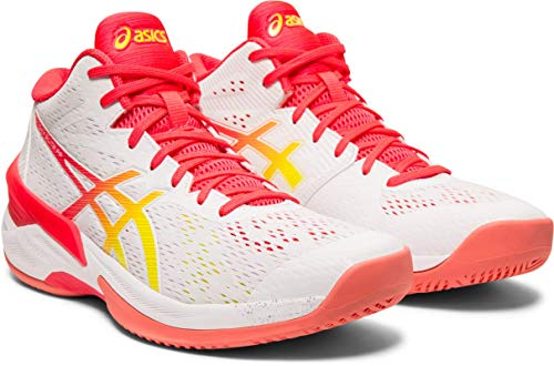 ASICS Women's Sky Elite FF MT Volleyball Shoes, White/Laser Pink, 7.5 M US
