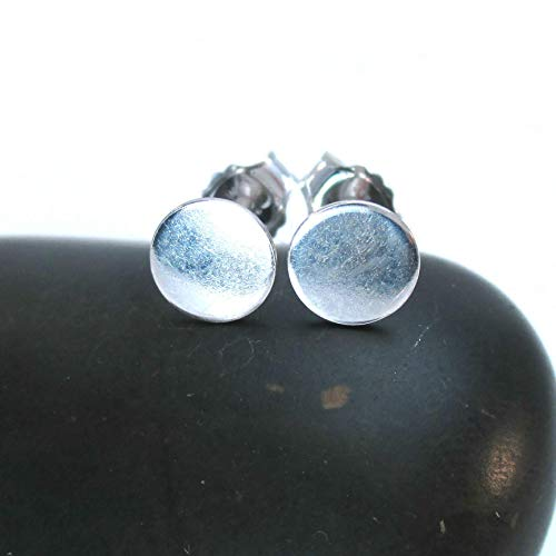 Medium Silver Circle Earrings Dot Studs, 6mm Post Style