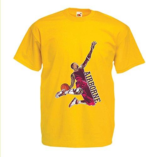 Camisetas Hombre Sé el señor de la Gravedad, Baloncesto Freestyle Dunk - Me Encanta Este Juego (Medium Amarillo Multicolor)