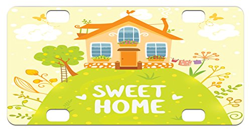 Home Sweet Home Mini License Plate by Ambesonne, Cartoon Style Cottage Hut on Green Hilltop with Flourishing Garden Morning, High Gloss Aluminum Novelty Plate, 2.94 L x 5.88 W Inches, - Green Hut Garage