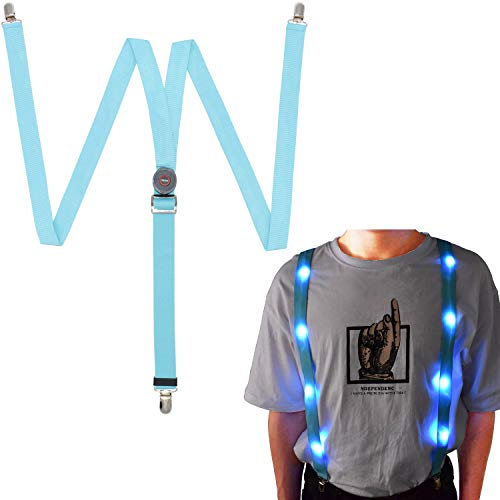 LED Glow Light Up Suspenders Trouser Braces Y Shape Suspenders (Blue) + -