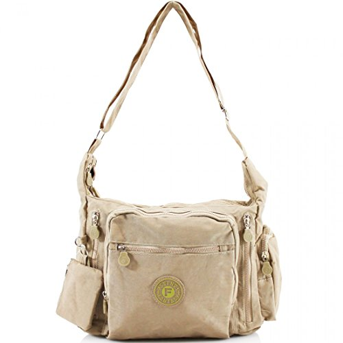 Ladies Multi Pockets Cross Body Messenger Bag Women Shoulder Tote Satchel Handbag Beige